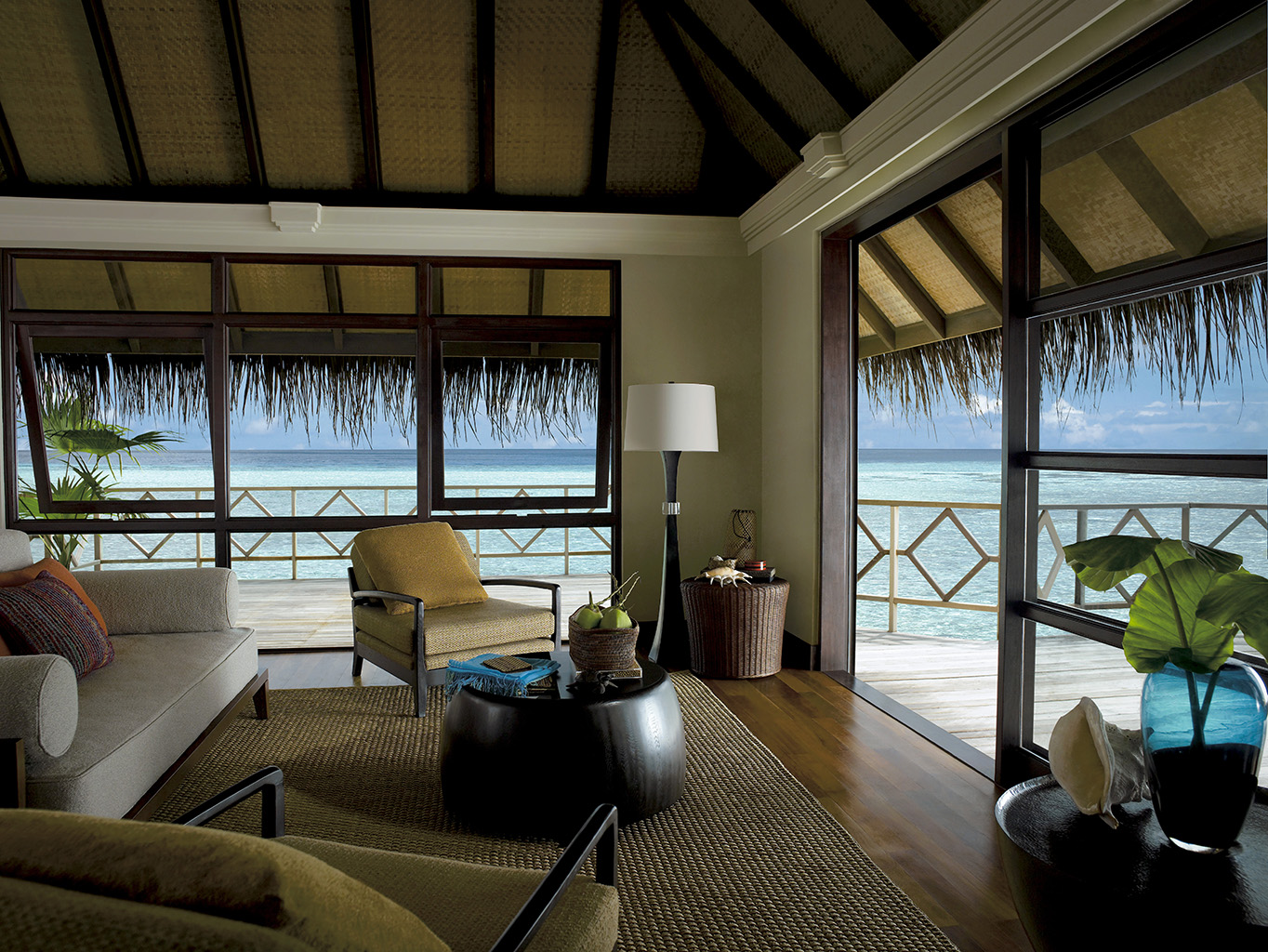 Sunrise Two Bedroom Water Bungalow Living Room