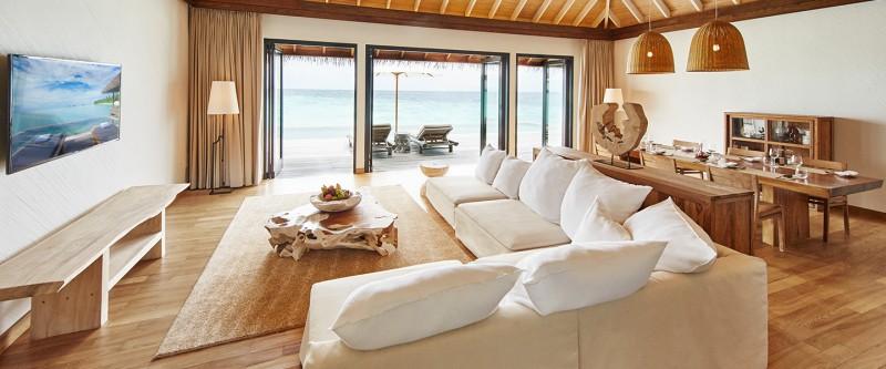 Maalifushi Water Villa Living & Dining 2